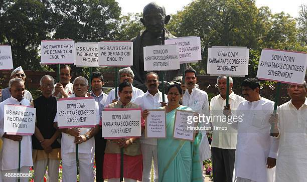 MPs from Karnataka protesting and demanding CBI probe on DK Ravi's death case at Parliament house on March 19 2015 in New Delhi India Opposition...
