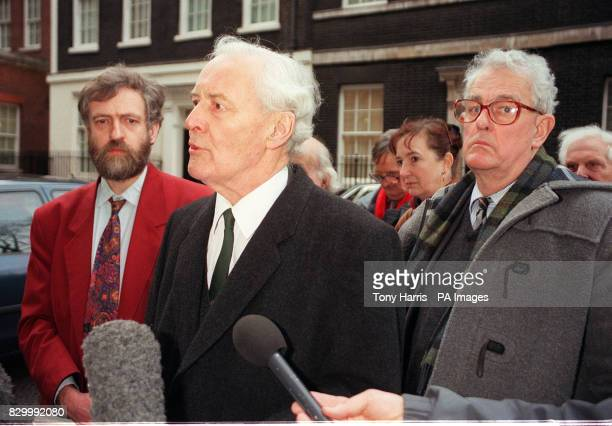 MPs Jeremy Corbyn Tony Benn and Tam Dalyell deliver a letter to No10 Downing Street today in protest at th Government's backing for military action...