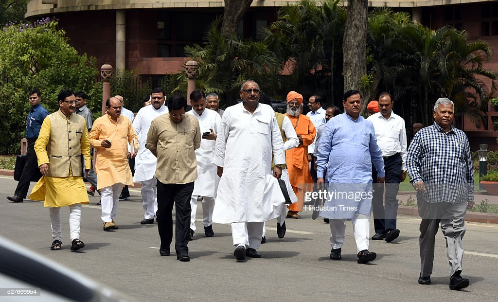 BJP's MP's Leave after attending BJP parliamentary Board Meeting at Parliament Library on May 3, 2016 in New Delhi, India. With the BJP mounting an offensive against Congress vice-president on the AgustaWestland VVIP chopper bribery case, Rahul Gandhi on Wednesday said he is happy to be targeted.