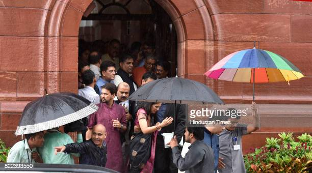 MPs leaving after swearingin ceremony of President Ram Nath Kovind at Parliament on July 25 2017 in New Delhi India Ram Nath Kovind took oath as the...