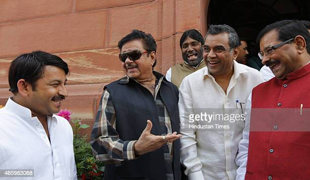 MPs Manoj Tiwari Shatrughan Sinha Paresh Rawal and Bharat Singh during budget session of Parliament House on March 12 2015 in New Delhi India The...