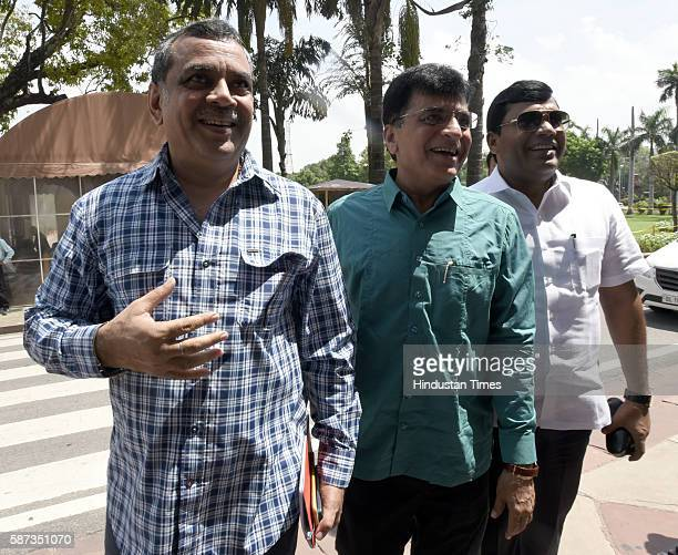 MPs Paresh Rawal and Kirit Somaiya and other arrive for the Parliament Monsoon Session on August 8 2016 in New Delhi India
