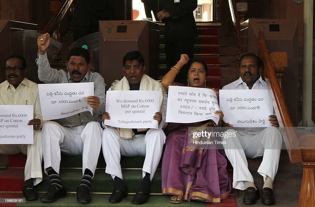 TDP MPs sitting on dharna for increase cotton price at Parliament house during the last day of Parliament's winter session on December 20, 2012 in New Delhi, India.