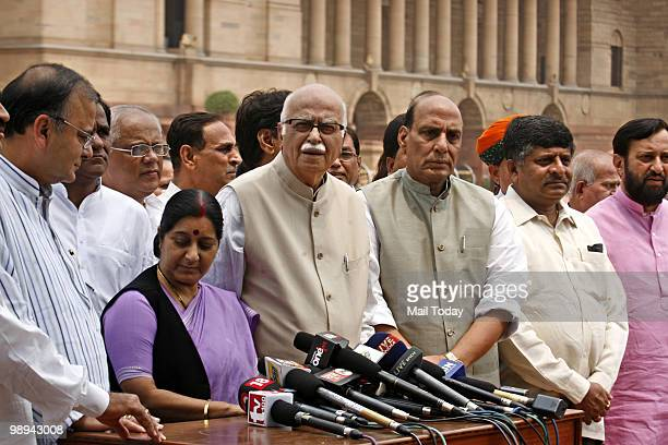 MPs Sushma Swaraj Lal Krishna Advani Rajnath Singh Arun Jaitley and other leaders from both the houses coming out of Rashtrapati Bhavan after...