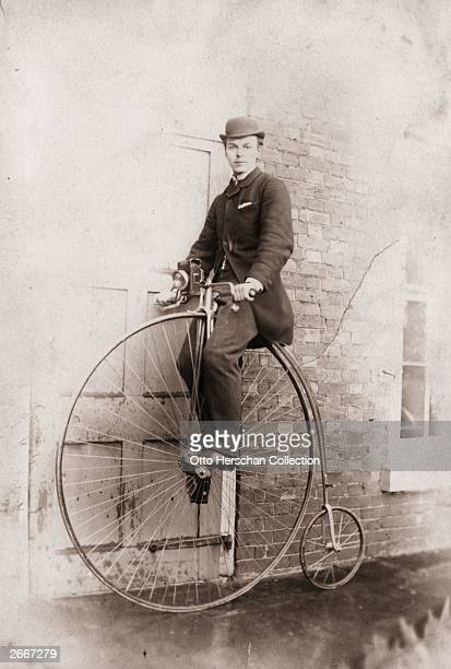 Mr A W Burton astride his pennyfarthing bicycle a popular vehicle during the Victorian era