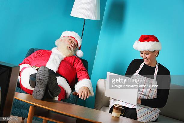 Mr. and Mrs. Claus at home