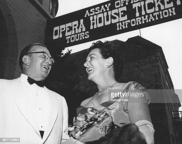 Mr and Mrs George Hayden were in a gay mood during a recent evening in Central City where the Broadway hit 'The Miracle Worker' is playing at the...