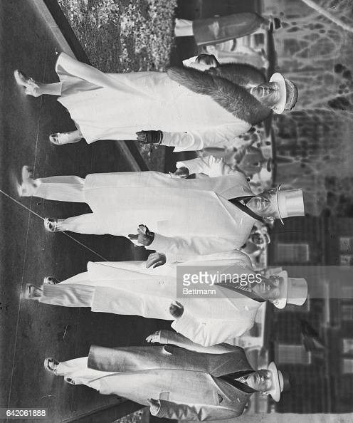 Mr and Mrs Harold Ickes and their sons Raymond and Robert arriving at St John's Church for services before attending the inaugural ceremonies in...