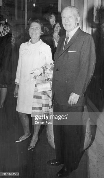 Mr and Mrs Norman Gross arrive for the opening play of the season 'Reprise' which starred Gloria Swanson Ten plays are being presented during the...