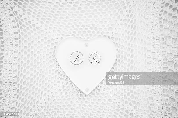Mr and Mrs wrtitten on wedding heart