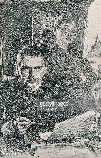 Mr and Mrs Zorn 1890 A self portrait of the artist Anders Leonard Zorn and his wife Emma Amalia Zorn After an etching by Anders Leonard Zorn From The...