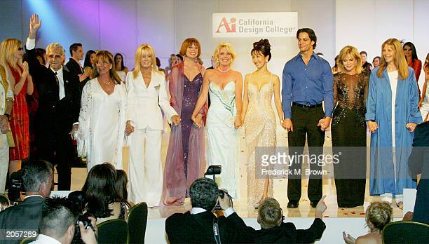 Mr Blackwell Sandy Wells Joan Van Ark Lee Taylor Young Meldoy Thomas Scott Sabrina Kay Matt Cedeno Donna Millls and Lindsay Wagner line up on stage...