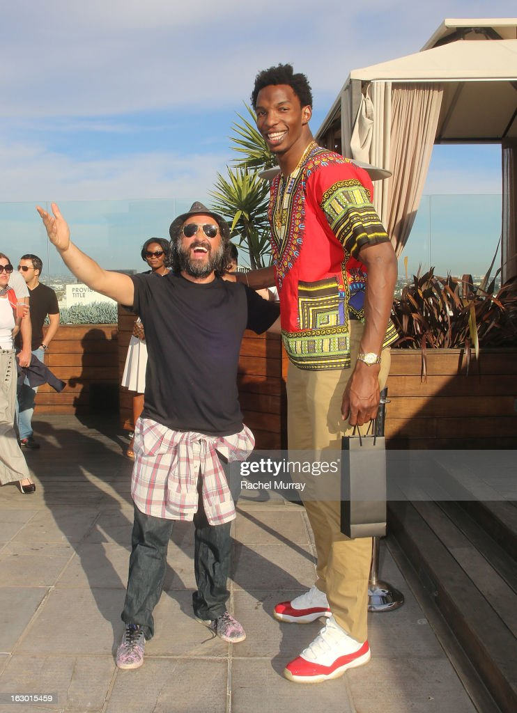 Mr Brainwash (L) and Hasheem Thabeet attend Flaunt Magazine and Samsung Galaxy celebrate The Plutocracy Issue release hosted by cover Russell Westbrook at Caulfield's Bar and Dining Room at Thompson Hotel on March 2, 2013 in Beverly Hills, California.