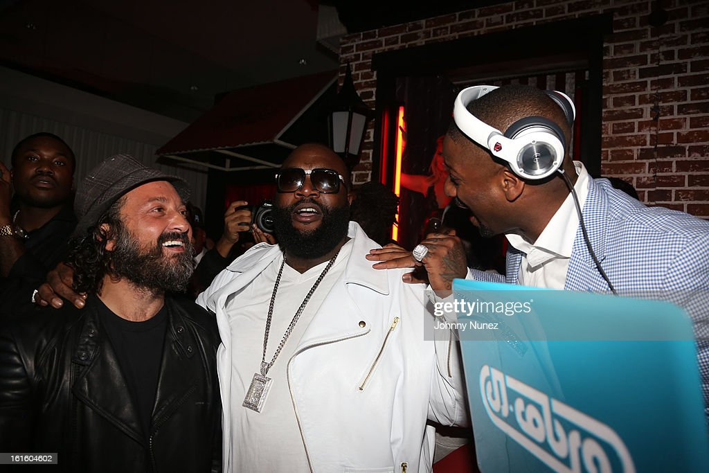 Mr. Brainwash, Rick Ross and <a gi-track='captionPersonalityLinkClicked' href=/galleries/search?phrase=DJ+Irie&family=editorial&specificpeople=558947 ng-click='$event.stopPropagation()'>DJ Irie</a> attend House Of Hype Monster Grammy Party at House Of Hype on February 10, 2013 in Los Angeles, California.