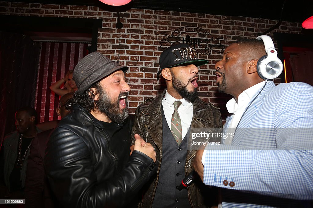 Mr. Brainwash, <a gi-track='captionPersonalityLinkClicked' href=/galleries/search?phrase=Swizz+Beatz&family=editorial&specificpeople=567154 ng-click='$event.stopPropagation()'>Swizz Beatz</a> and <a gi-track='captionPersonalityLinkClicked' href=/galleries/search?phrase=DJ+Irie&family=editorial&specificpeople=558947 ng-click='$event.stopPropagation()'>DJ Irie</a> attend House Of Hype Monster Grammy Party at House Of Hype on February 10, 2013 in Los Angeles, California.