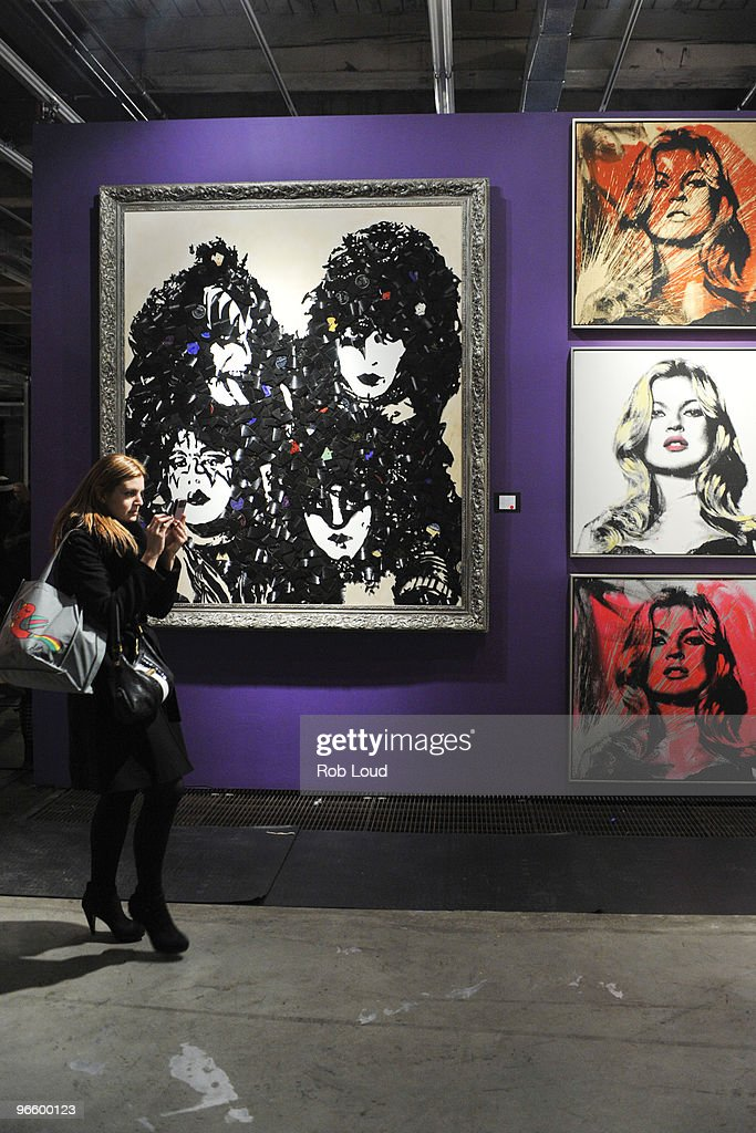 Mr. Brainwash's artwork is seen at the Mr. Brainwash solo exhibition opening on February 11, 2010 in New York City.