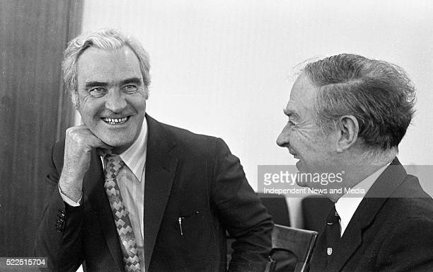 Mr Brendan Corish and Mr Liam Cosgrave in good spirits following their meeting in Leinster House circa March 1973 37399