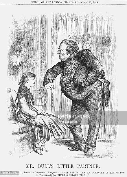 'Mr Bull's Little Partner' 1878 John Bull that stalwart representative of the British people offers his arm to Greece Behind the curtain can be seen...