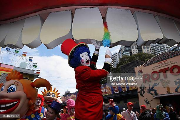 Mr Candy K polishes the Luna Park teeth during the 75th anniversary celebrations on October 4 2010 in Sydney Australia Artist Rupert Browne designed...