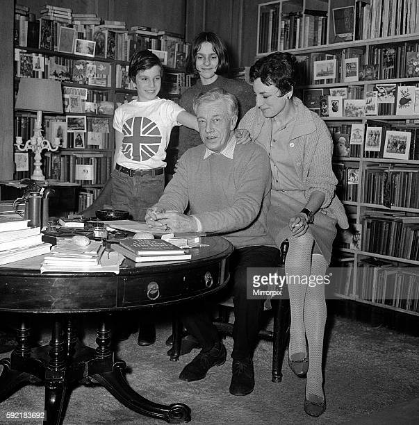 Mr Cecil DayLewis PoetLaureate in succession to the late John Mansfield Pictured at home with his wife actress Joan Balcon daughter Tamsin and son...