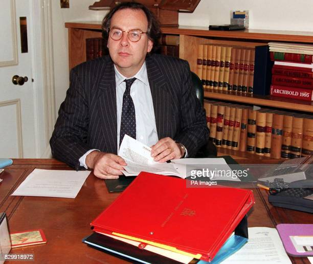 Mr Charles Falconer QC the new Solictor General in his office at the Attorney General's Chambers in London today Lord Falconer was caught up in a...