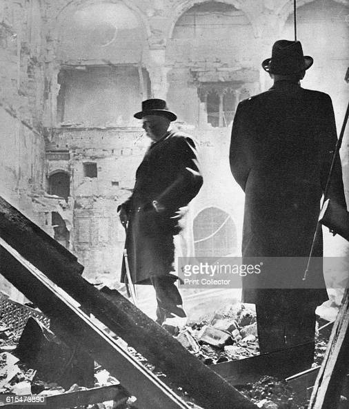 Mr Churchill contemplates the ruins of the House of Commons bombed in May 1941' 1941 Incendiary bombs which fell on the nights of 10 and 11 May 1941...