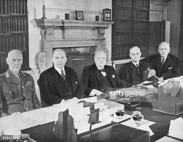 Mr Churchill with the Commonwealth Prime Ministers' 1944 From left to right General Smuts Mr Mackenzie King Mr Winston Churchill Mr J Curtin Mr Peter...