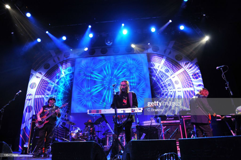 Mr Dibs, Richard Chadwick, Dave Brock and Niall Hone of Hawkwind performs on stage at Shepherds Bush Empire on December 10, 2011 in London, England.