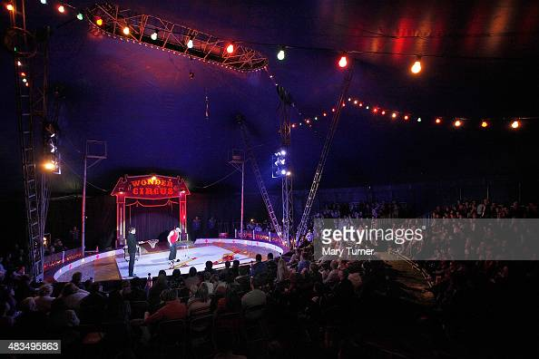 Mr Fips the Clown performs to a full house inside the tent known as the Big Top during performance of Mr Fips' Wonder Circus on April 7 2014 in...
