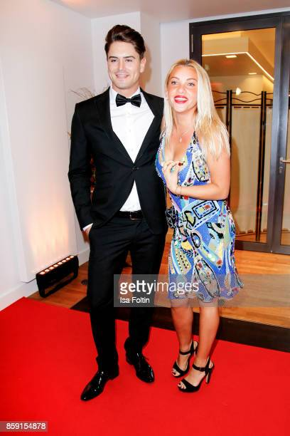 Mr Germany 2017 Dominik Bruntner and former candidate of the TV show 'The Bachelor' Evelyn Burdecki attend the German Boxing Awards 2017 on October 8...