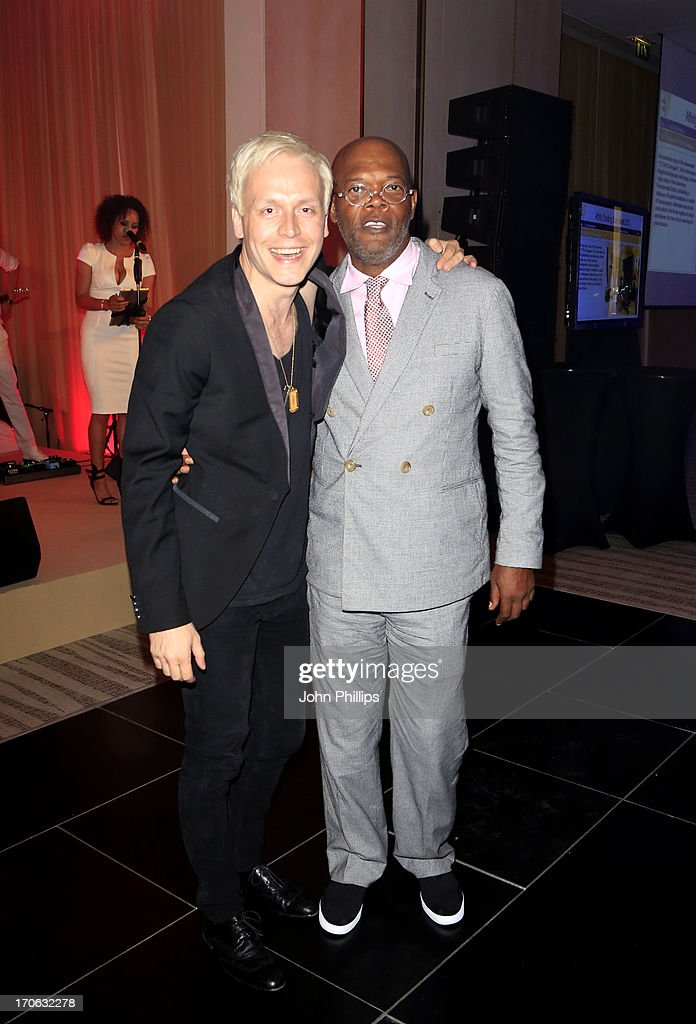 Mr Hudson and Samuel L Jackson during the Affinity Real Estate Shooting Stars Benefit Gala Ball at The Grove Hotel on June 15, 2013 in Hertford, England.