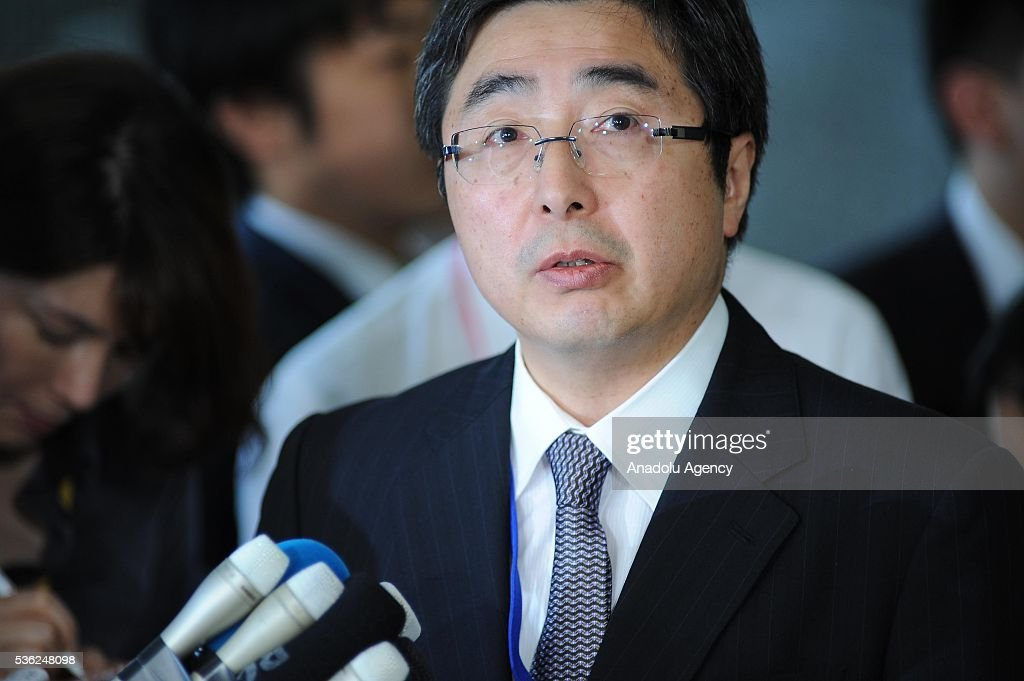 Mr. Ishikane, Director-General of Asian and Oceanian Affairs Bureau addresses to journalists at the Japan Ministry of Foreign Affairs after the Japan-U.S.-ROK Heads of Delegation Meeting of the Six Party talks in Tokyo, Japan, on June 1, 2016.