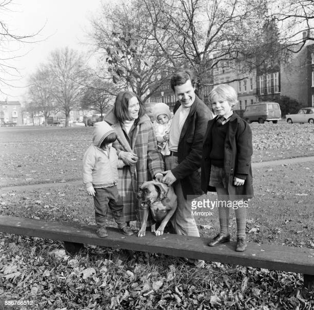 Mr James Cellan Jones who directed seven episodes of The Forsyte Saga photographed on Kew Green with his family and dog His wife Margaret is also in...