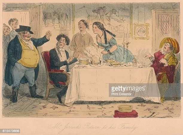 Mr Jorrocks's Return to his Family' 1854 From Handley Cross or Mr Jorrocks's Hunt by Robert Smith Surtees [Bradbury and Evans London 1854] Artist...