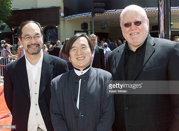 Mr Kubo Mr Ishihara and Al Kahn at the Premiere of 'Pokemon the Movie 2000' at the Village Theater Westwood Ca on 7/15/2000