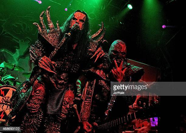 Mr Lordi and Amen of Lordi perform on stage at O2 Academy Islington on April 5 2015 in London United Kingdom