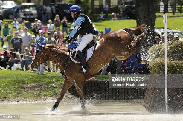 Mr Medicott with Phillip Dutton up jumps over brush at the Head of the Lake during the cross country competition of the Rolex ThreeDay event at the...