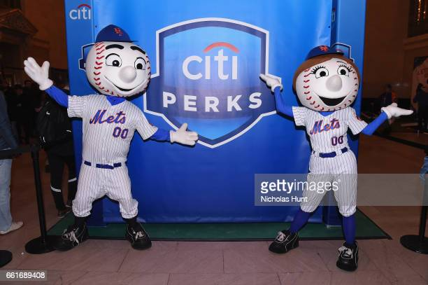 Mr Met and Mrs Met attend the Citi celebration of the start of the New York Mets season with the Let's Go Mets Fan Rally at Grand Central Terminal on...