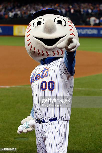 Mr Met during Game Four of the 2015 World Series at Citi Field on October 31 2015 in the Flushing neighborhood of the Queens borough of New York City