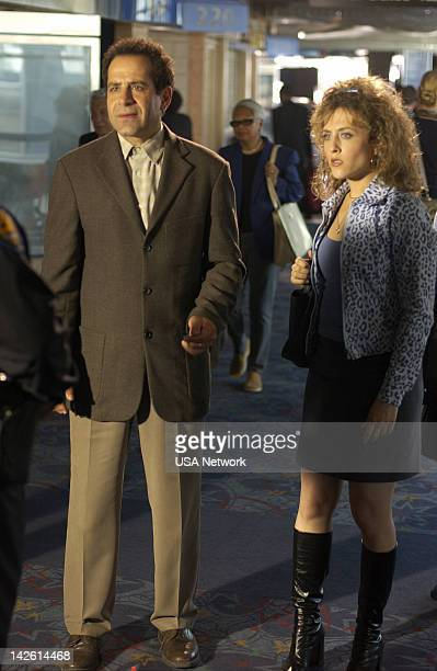 MONK 'Mr Monk and the Airplane' Episode 13 Pictured Tony Shalhoub as Adrian Monk Bitty Schram as Sharona Fleming