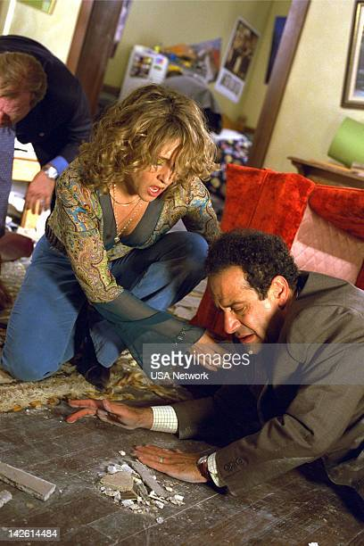 MONK 'Mr Monk and the Earthquake ' Episode 11 Pictured Bitty Schram as Sharona Fleming Tony Shalhoub as Adrian Monk