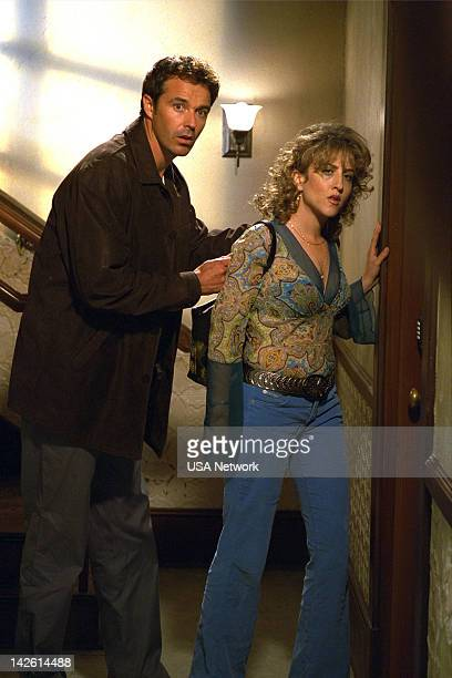 MONK 'Mr Monk and the Earthquake ' Episode 11 Pictured Cameron Daddo as Darryl Wright Bitty Schram as Sharona Fleming