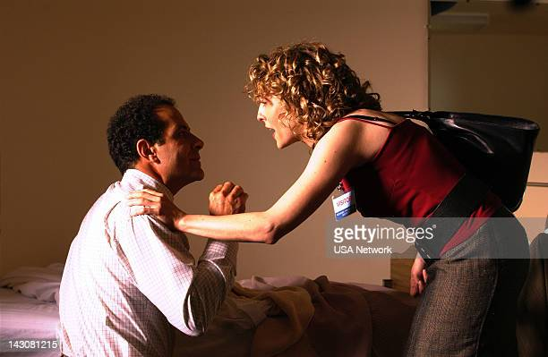 MONK 'Mr Monk Goes to Asylum' Episode Pictured Tony Shalhoub as Adrian Monk Bitty Schram as Sharona Fleming