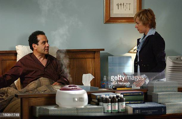 MONK 'Mr Monk Stays in Bed' Episode 3 Pictured Tony Shalhoub as Adrian Monk Traylor Howard as Natalie Teeger