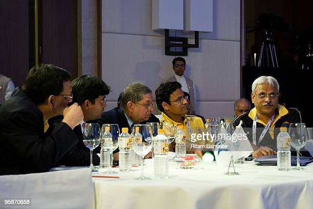 Mr N Srinivasan BCCI Secretary and owner of Chennai Super Kings attends the Indian Premier League Auction 2010 on January 19 2010 in Mumbai India