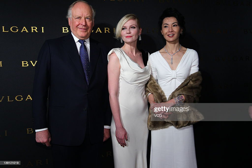 Mr Nicola Bulgari actress Kirsten Dunst and Maggie Cheung attend the ribbon cutting for 125 Years of Italian Magnificence Opening Ceremony on...