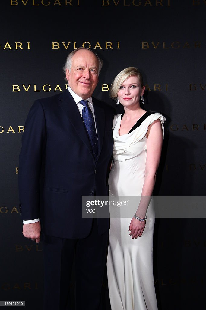Mr Nicola Bulgari and actress Kirsten Dunst attend the ribbon cutting for 125 Years of Italian Magnificence Opening Ceremony on February 16 2012 in...