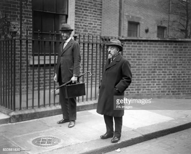 Mr Noel Buxton and Mr Sidney Webb arriving at 10 Downing Street