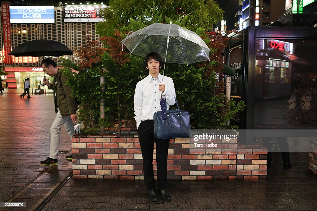 Mr. Ono works as a mobile seller poses for portraits. He was asked what he looks forward to during the week and when on holiday, on week days he looks forward to drinking alchol and for holiday he looks forward to drinking alcohol as well on May 06, 2016 in Tokyo.