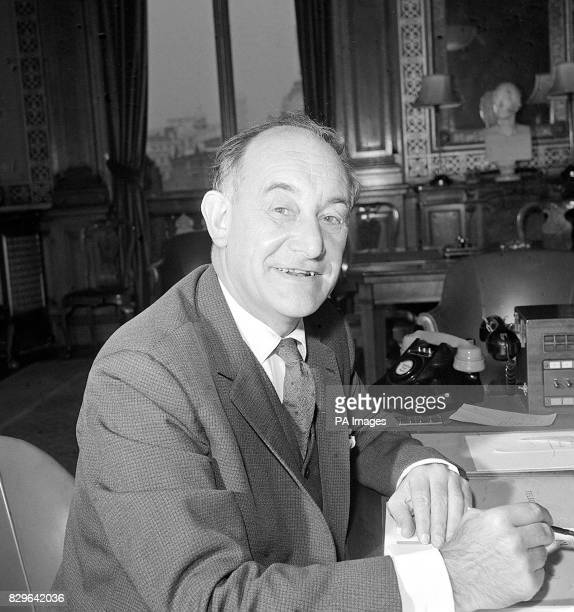 Mr Patrick Gordon Walker as Foreign Secretary in Wilson's Labour Government at his desk in the Foreign Office London